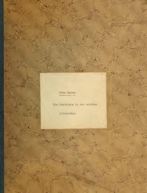 Die Synkrisis in der antiken Litteratur - Index of