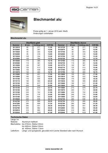 Blechmantel alu - ISO-CENTER