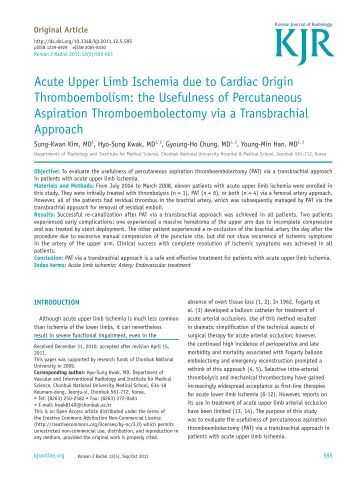 Acute Upper Limb Ischemia due to Cardiac Origin ...