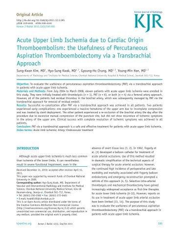 Acute Upper Limb Ischemia due to Cardiac Origin ...