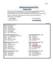 Staffeleinteilung Bezirk WEST Sommer 2013