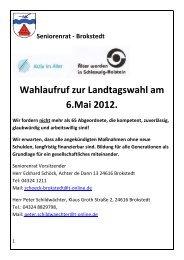 Wahlaufruf zur Landtagswahl am 6.Mai 2012. - Seniorenrat Brokstedt