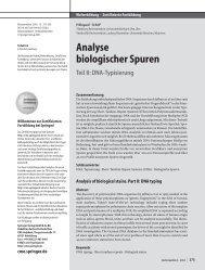 Analyse biologischer Spuren - Universitätsklinikum Ulm