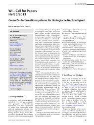 WI – Call for Papers Heft 5/2013 - Wirtschaftsinformatik Online