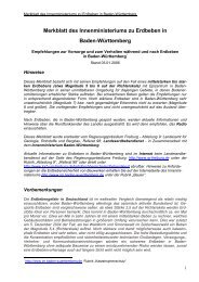 Merkblatt des Innenministeriums zu Erdbeben in Baden-Württemberg