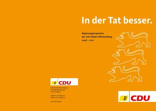 Regierungsprogramm der CDU Baden-Württemberg für die ...