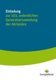 Einladung zur 103. ordentlichen ... - Energiedienst AG