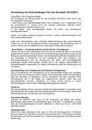 Anmeldung von Schulanfängern für das Schuljahr 2013/2014