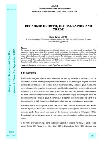 economic growth, globalization and trade - Management Research ...