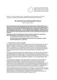 Die nationale Gesundheitspolitik Schweiz - itaconsult.ch