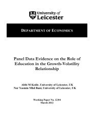Panel Data Evidence on the Role of Education - University of Leicester