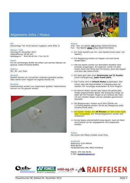 Turnierheft 2012 - Badminton Club Adliswil