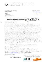Karlsruher Mathematik-Wettbewerb - Jahr der Mathematik