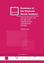 Summary of the Regional Needs Analysis - SVEA
