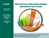 2013 Services Marketing Budget Allocations and Trends