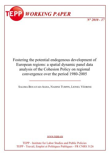 Liste Working papers 17 - TEPP : Travail, Emploi et Politiques ...
