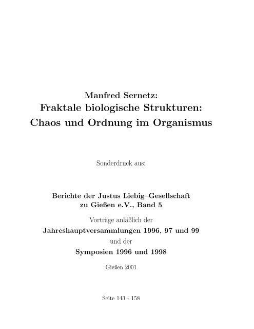 Fraktale biologische Strukturen - Justus-Liebig-Universität Gießen