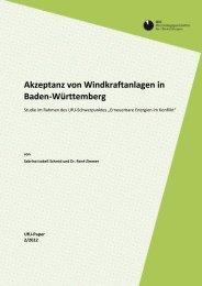 Akzeptanz von Windkraftanlagen in Baden-Württemberg - beim ...