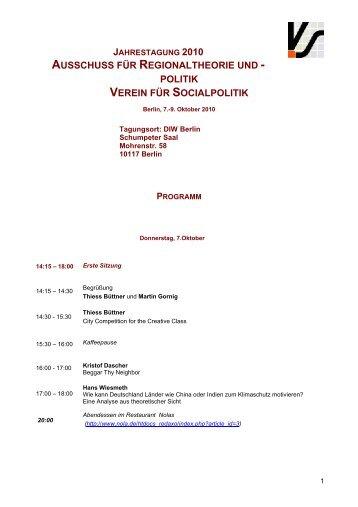 Programm der Jahrestagung 2010 in Berlin