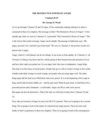 THE DESTRUCTIVE POWER OF ANGER 1 Samuel 18-19 Dr ...