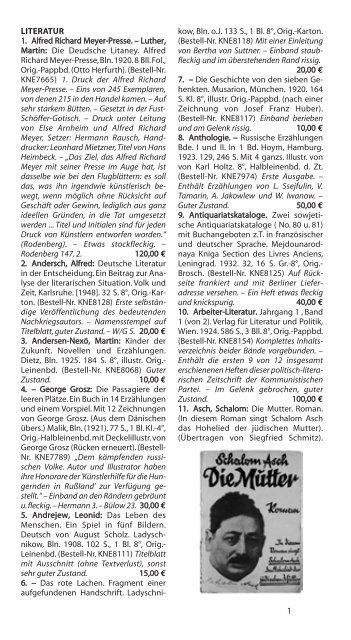 LITERATUR 1. Alfred Richard Meyer-Presse ... - Rotes Antiquariat