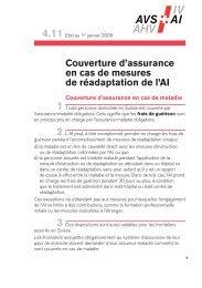 Couverture d'assurance en cas de mesures de réadaptation de l'AI