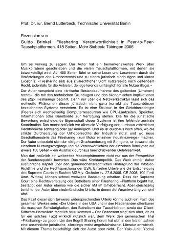 Prof. Dr. iur. Bernd Lutterbeck, Technische Universität Berlin ...