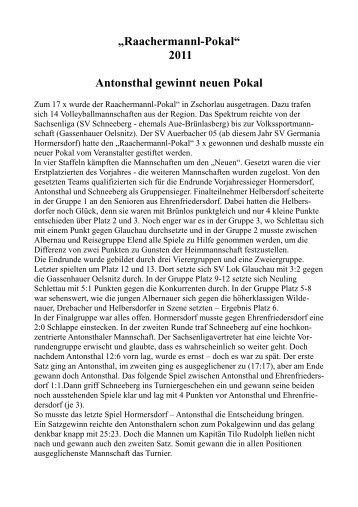 """Raachermannl-Pokal"" 2011 Antonsthal gewinnt neuen Pokal"