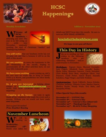 November 2012 Newsletter - Hohenfels Community & Spouse's Club