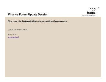 Finance Forum Update Session Vor uns die Datensintflut - itopia