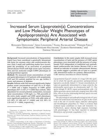 Increased Serum Lipoprotein(a) Concentrations ... - Clinical Chemistry
