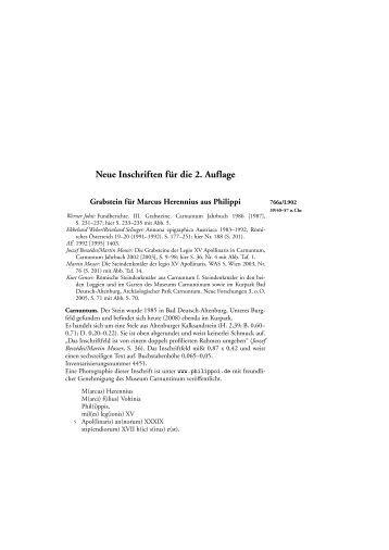 Neue Inschriften für die 2. Auflage - Inschriften von Philippi im Bild