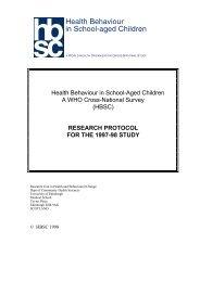 Health Behaviour in School-Aged Children - University of Edinburgh