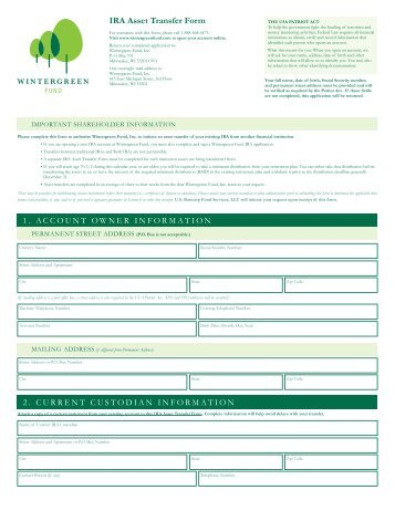 Traditional IRA & Roth IRA Transfer of Assets/Direct Rollover Form