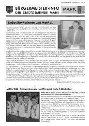 Bürgermeisterinfo Jänner 2011 - Stadtgemeinde Mank