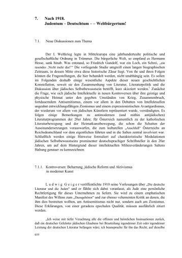 7. Nach 1918. Judentum – Deutschtum – – Weltbürgertum!