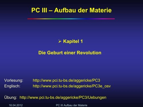 PC III – Aufbau der Materie