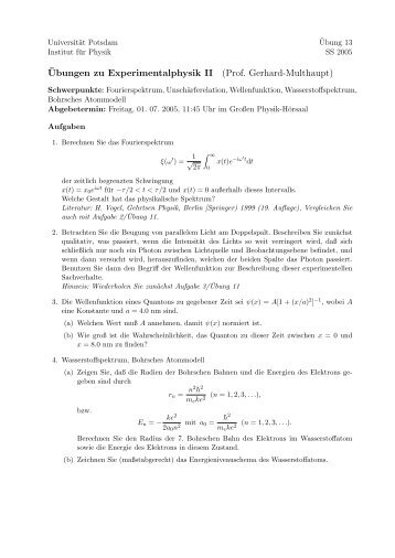 ¨Ubungen zu Experimentalphysik II (Prof. Gerhard-Multhaupt)