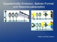 Quantenhafte Emission, Balmer-Formel und Resonanzabsorption