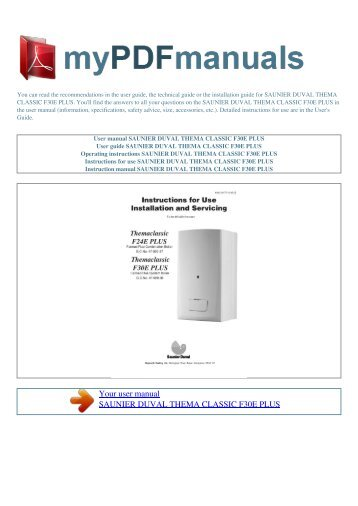 user manual saunier duval thema classic f35e my pdf rh yumpu com O-Ring Installation Guide RV Toilets Installation Diagrams