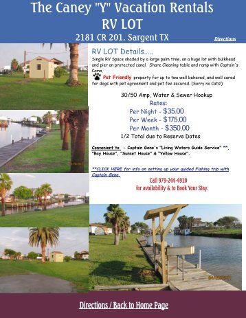 "Details - Caney ""Y"" Vacation Rentals"