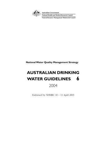 Australian Guidelines For Drinking Water