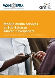 Mobile media services at Sub-Saharan African newspapers