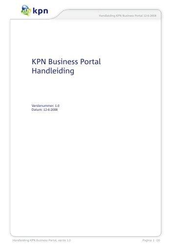 KPN Business Portal Handleiding