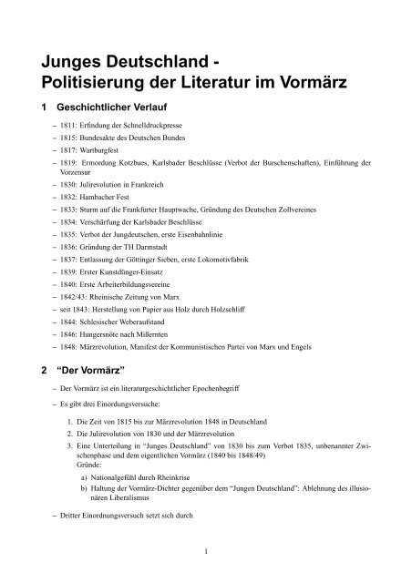Junges Deutschland Politisierung Der Literatur Im Vormärz