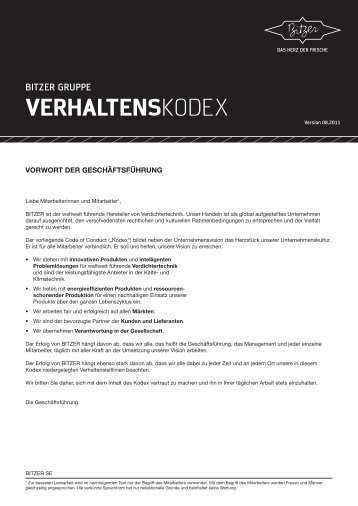 Verhaltenskodex - Bitzer