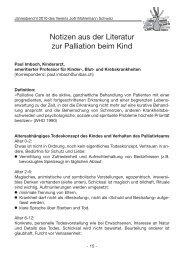 Notizen aus der Literatur zur Palliation beim Kind - Verein Joël ...