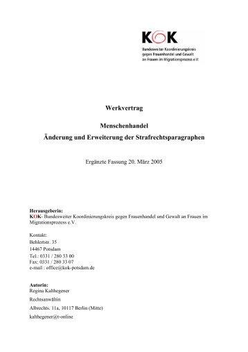 Werkvertrag Menschenhandel Änderung und Erweiterung der ... - KOK