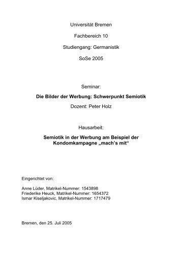 Semiotik in der Werbung - Semiotics in Bremen - Universität Bremen
