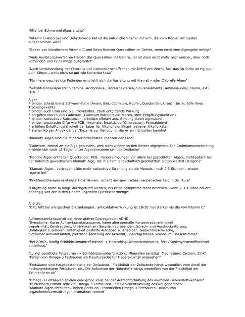 Schwermetallvergiftung, Quecksilber, Amalgam: